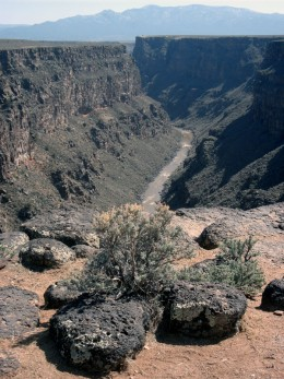 The Rio Grande Gorge, as seen from the West Rim Trail near the town of Taos.
