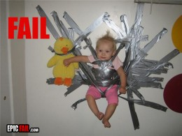 This baby totally taped herself to the wall - I swear.