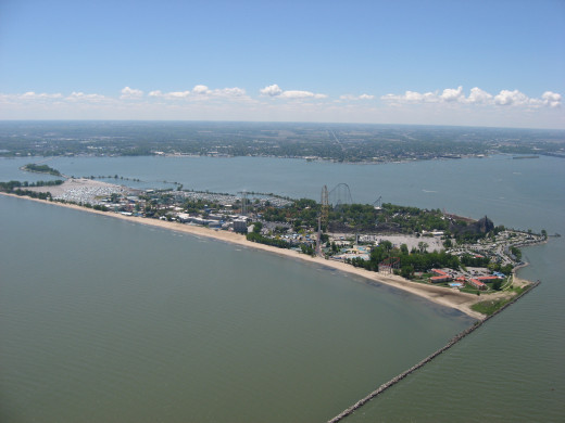 Aerial view of Cedar Point.