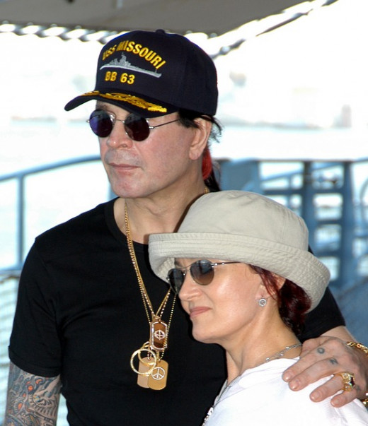 Ozzy Osbourne with his wife, Sharon, daughter of the early Sabbath manager, Don Arden.  The couple have survived some turbulent times, including Ozzy's erratic behavior and over use of alcohol and drugs, as well as Sharon contracting breast cancer.