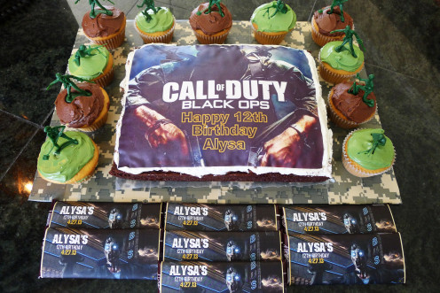 This is the Call of Duty cake and cupcakes I made for my daughter's 12th birthday party.   I used the edible cake image and plastic army men ideas featured on this page.   We also handed out Hershey Chocolate Bars.