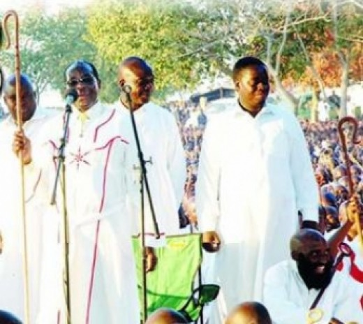 Members of the African Independent Church adorned in their traditional white robes