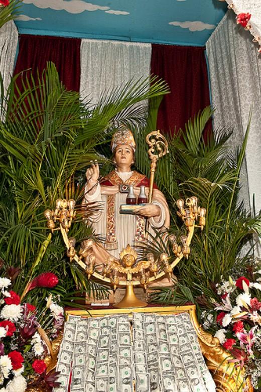 Statue of San Gennaro in Manhattan's Little Italy.
