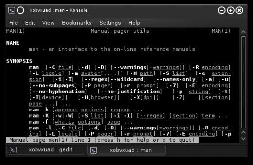 "An example of using the command ""man"" on Arch Linux (x86) 64 bit."