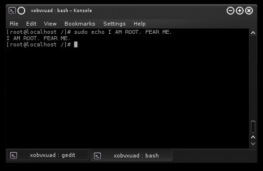 "Example of the command ""sudo"" being used on Arch Linux (x86) 64 bit."