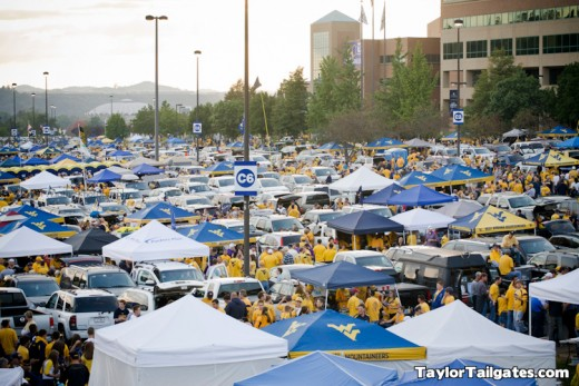 Tailgating in Morgantown, West Virginia takes over the whole town on game day.