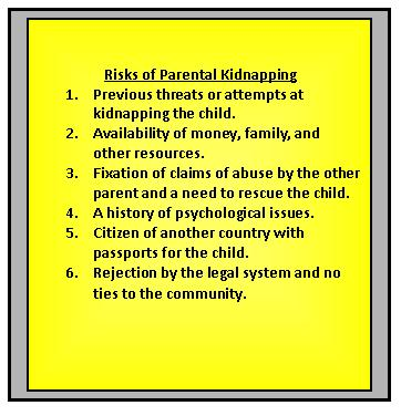 Risk Factors for Parental Kidnapping