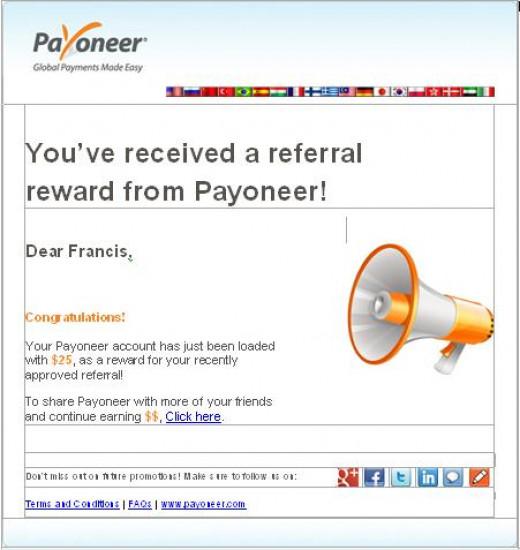 Latest proof of Payoneer refer a friend program reward