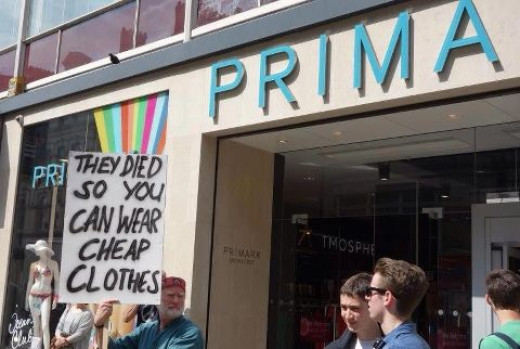 Protestors surround the flagship Primark store on Oxford Street in anger following the deaths in the Bangladeshi Savar Tragedy in Dhaka