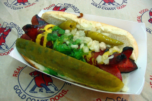 Here you see a Char Style Chicago Style Hot Dog where the beef frank has been split and grilled until it is charred. These are really popular in Chicago. You have not eaten a hot dog until you've eaten a Chicago hot dog. In just a few steps, you can
