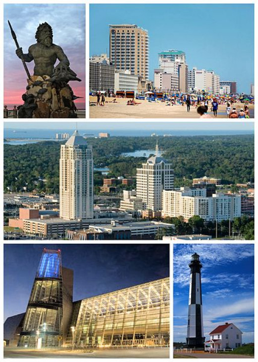 King Neptune statue, the Virginia Beach oceanfront, Town Center in Virginia Beach, The Virginia Beach Convention Center, and the Cape Henry Lighthouse.