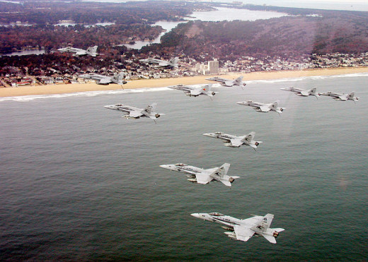 F/A-18 Hornets coming in off the Atlantic Ocean in the North End area of Virginia Beach.