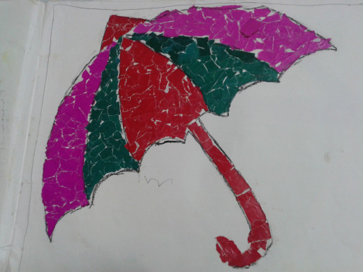 An umbrella made from collage