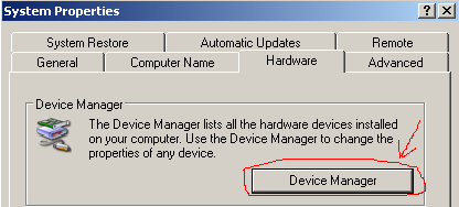 Right-click on My Computer icon, select Properties, go to Hardware --  Device Manager.