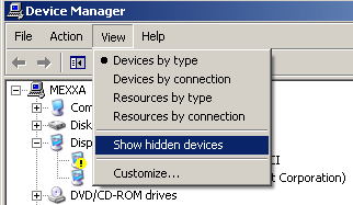 On the View menu, select Show hidden devices.