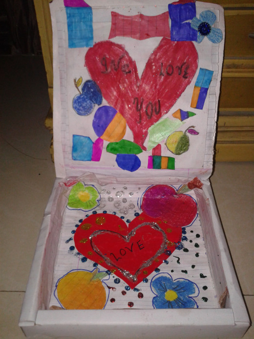 Decorated birthday gift box for their teacher