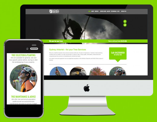 Great use of images for this tree services' responsive website.