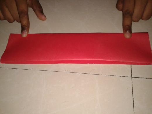 Paper folded horizontally
