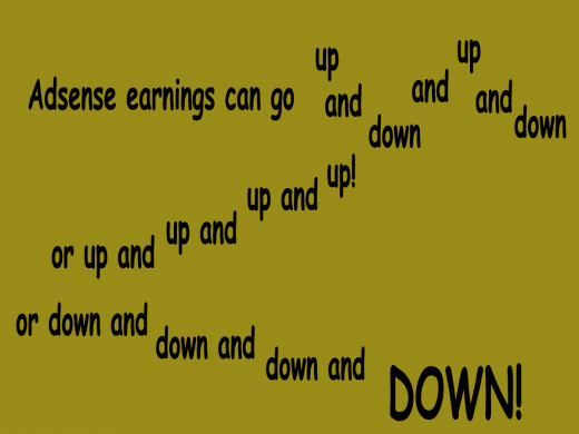 Adsense earnings can go up and down, or up and up, or down and down.