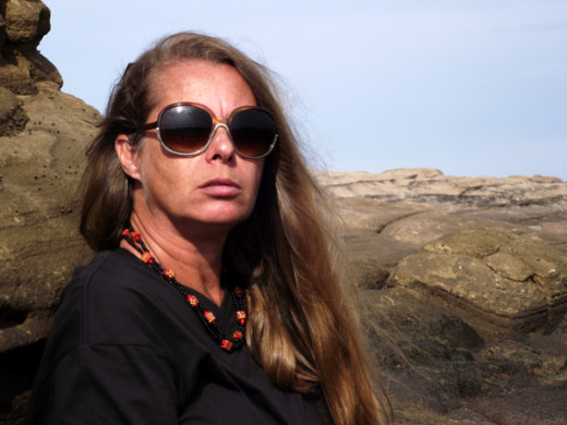 The author, 40-something Teresa Schultz, remaining positive, and enjoying the sun at a beach in East London, South Africa, in March 2013.