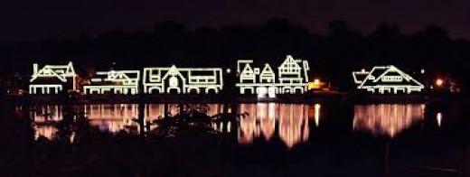 Boathouse Row at night