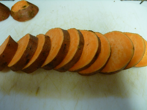Cut the sweet potato in round disks.