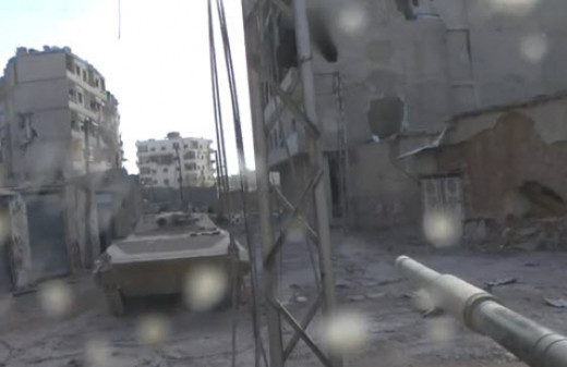 Rubble Filled Streets - All That is Left of Most of Syria. Picture Taken from a Tank's Dash Cam