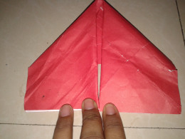 the two corners folded down from the top