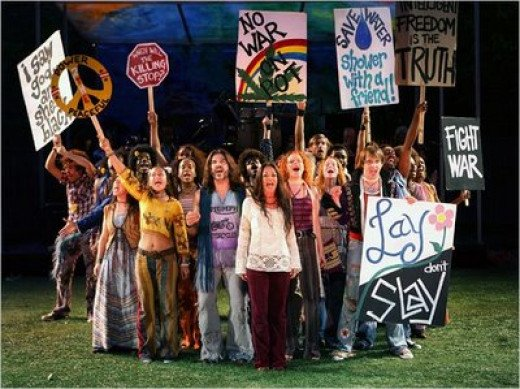A picture of the new Broadway play, Hair.