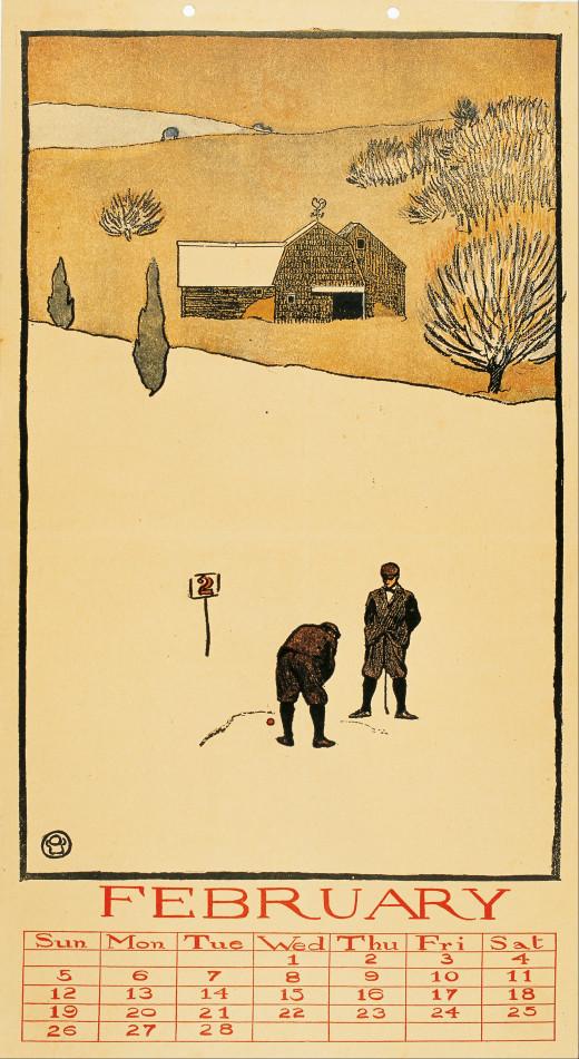 Golf Calendar, February. (1899), by Edward Penfield (1866-1925)