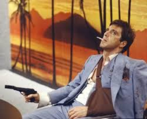 Al Pacino played a great criminal named Tony Montana in Scarface.  He was from Cuba but ended up in Miami, Florida as a drug kingpin.