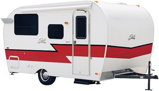 A modern retro-style camper