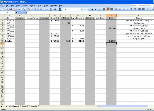 Sample spreadsheet for one week's expenses