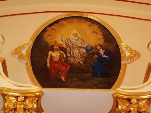 This fresco of the Holy Trinity is located at Iglesia San Salvador, San Salvador Tizatlalli, Mexico.