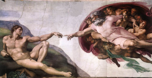 "Michelangelo's famous ""Creation of Adam"" shows one concept of what God the Father looks like. It graces a section of the ceiling of the Sistine Chapel in Rome, Italy."