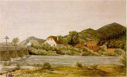 Farm houses & bridge on the Ybbs in Austria, watercolor, 1910