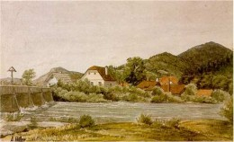 Farm houses & bridge on the Ybbs in Austria, watercolor, 1910
