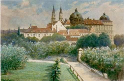 Neuburg Cloister on the Danube near Vienna, watercolor, 1911