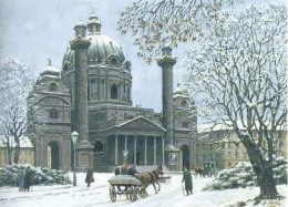 Karl's Church in Winter, watercolor, 1912