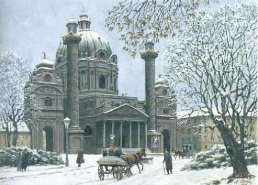 Karl's Church in Winter, watercolor, 1912