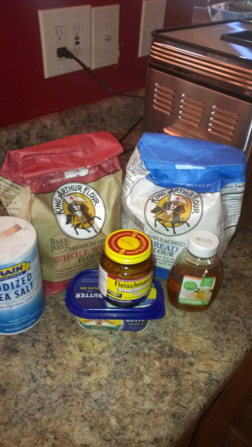 Basic ingredients in the Honey Whole Wheat bread