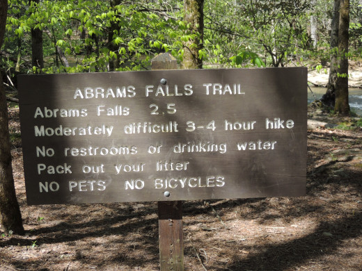 Sign at the Trailhead to Abrams Falls