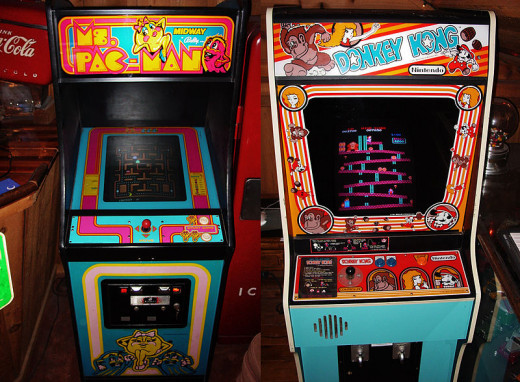 """Ms. Pac Man"" and ""Donkey Kong"" cabinets"