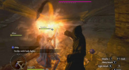 Dragon's Dogma Dark Arisen Midnight Helix fight with the winged creature - just hit and run tactics and avoid being petrified by the monster.