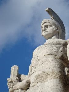 A statue of a Roman soldier