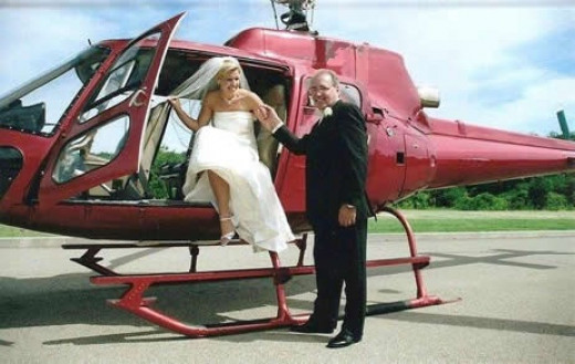 Bride and Groom Arriving In Helicopter