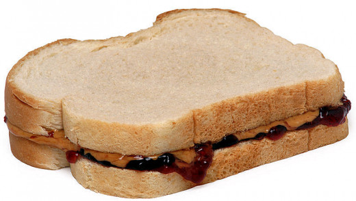 Plain old basic peanut butter and jelly sandwich.