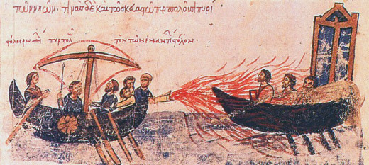 A manuscript illustrating the use of Greek fire.