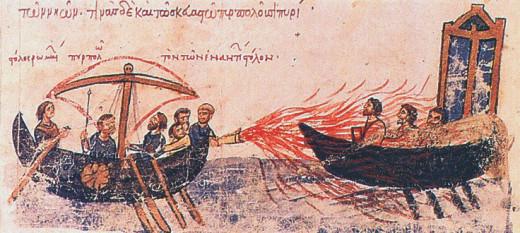 A manuscript illustrating the use of Greek fire.