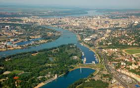 View from air-plane to the Danube river going trough the capital: Belgrade